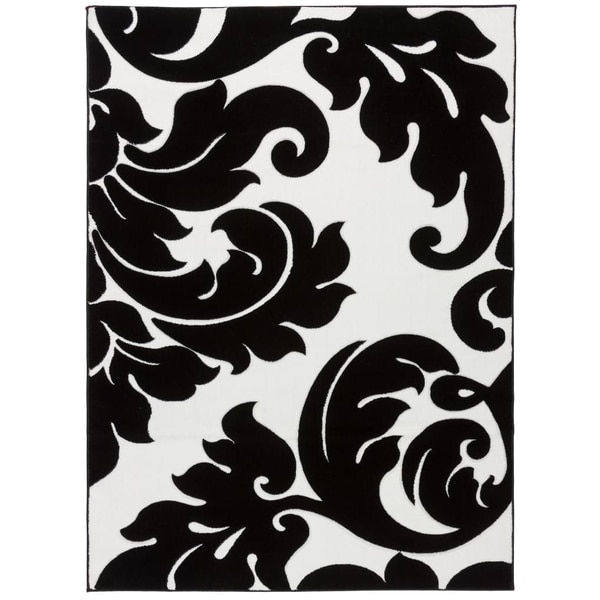 Carved Damask Rug: Hand-carved Damask Vines Modern Contemporary Classic