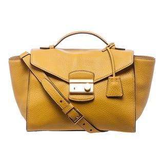 b1356754277e Prada  Daino  Yellow Leather Twin Pocket Satchel Sale ...