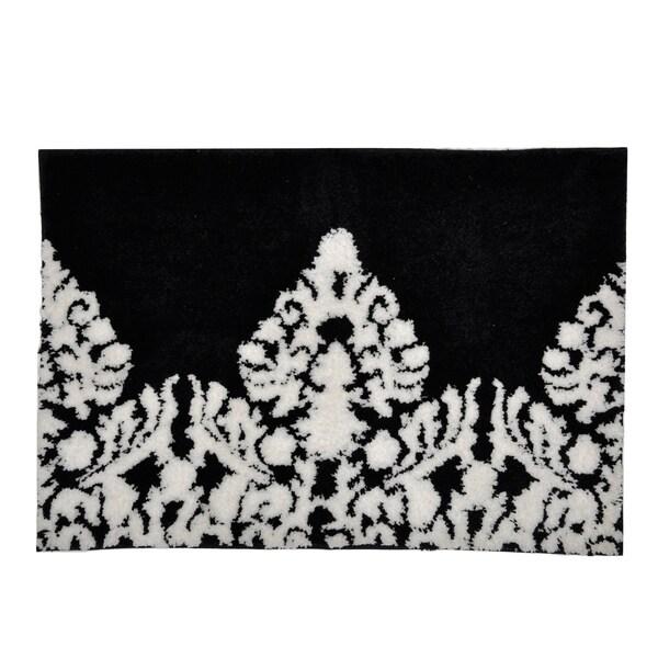Black White Damask Bath Mat 16095227 Overstock Com