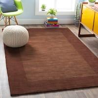 Hand-loomed Risor Solid Bordered Wool Area Rug - 7'6 x 9'6