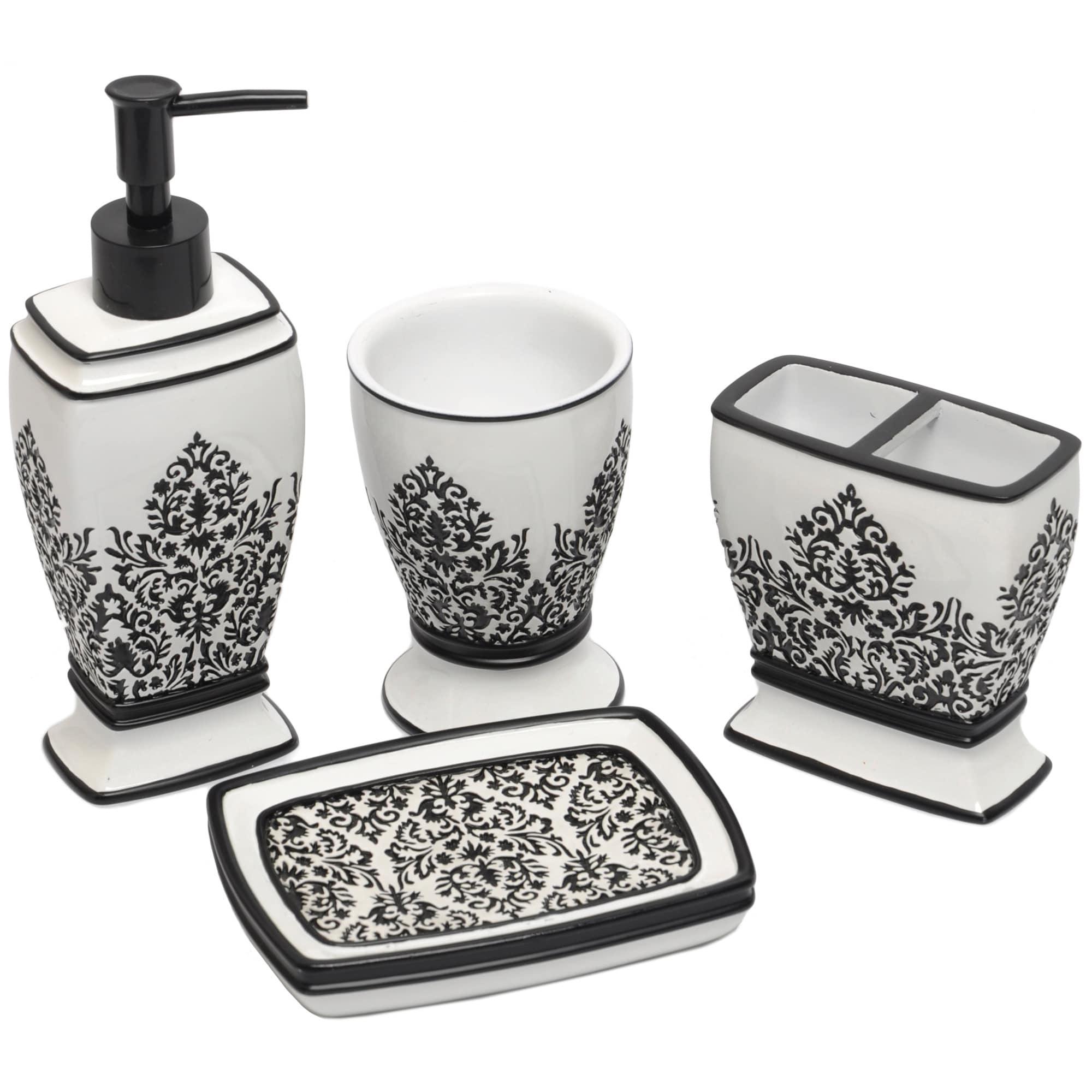Black/ White Damask Bath Accessory 4-piece Set