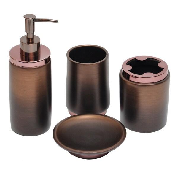 Oil Rubbed Bronze Bath Accessory 4-piece Set - 16098375 ...
