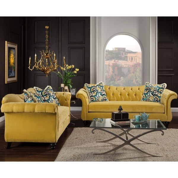 Furniture Of America Agatha 2 Piece Tufted Sofa And