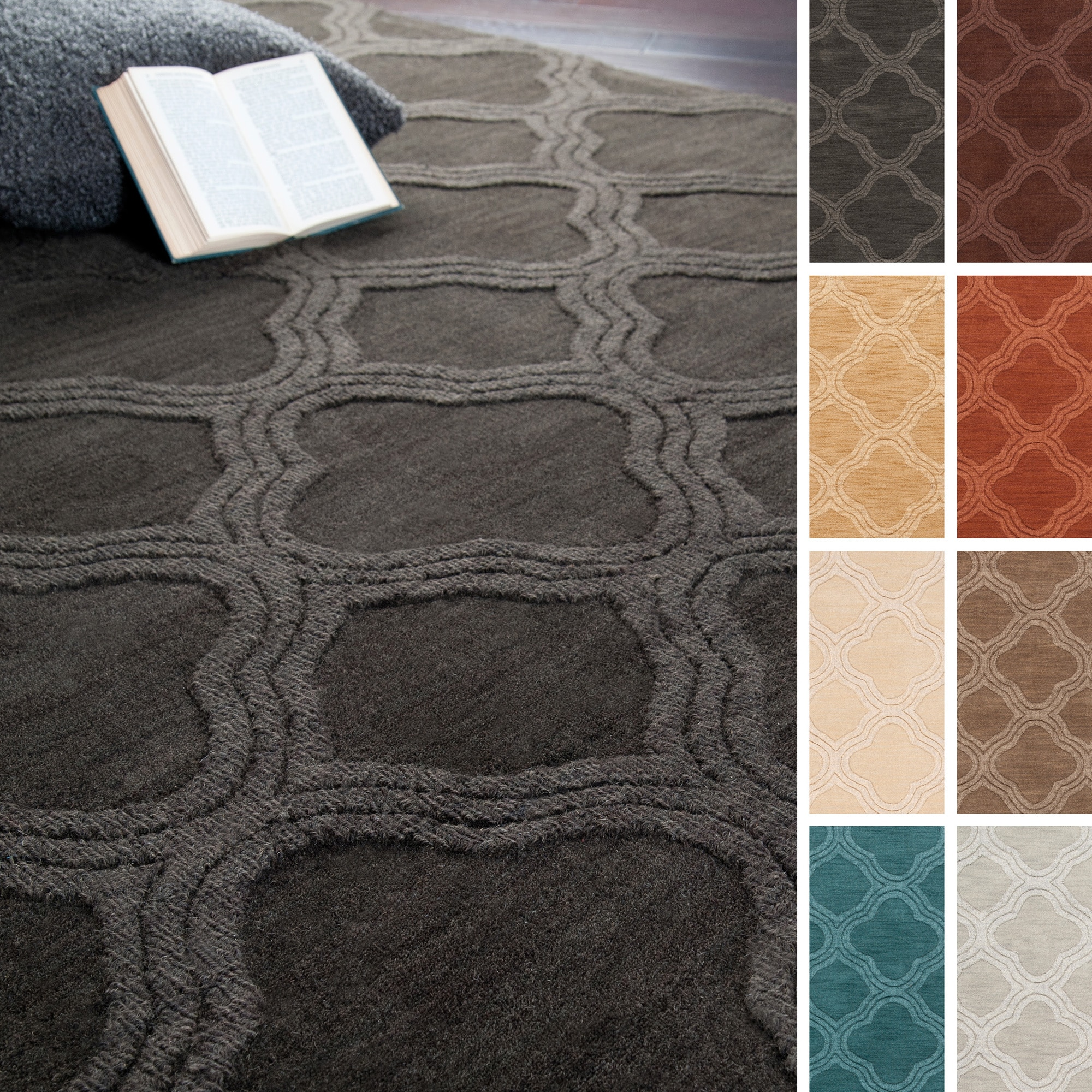 Hand Loomed Amherst Solid Moroccan Trellis Wool Area Rug