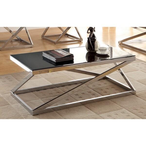 Glass Top Chrome Coffee Table: Krystalle Chrome Black Glass Top Coffee Table Furniture