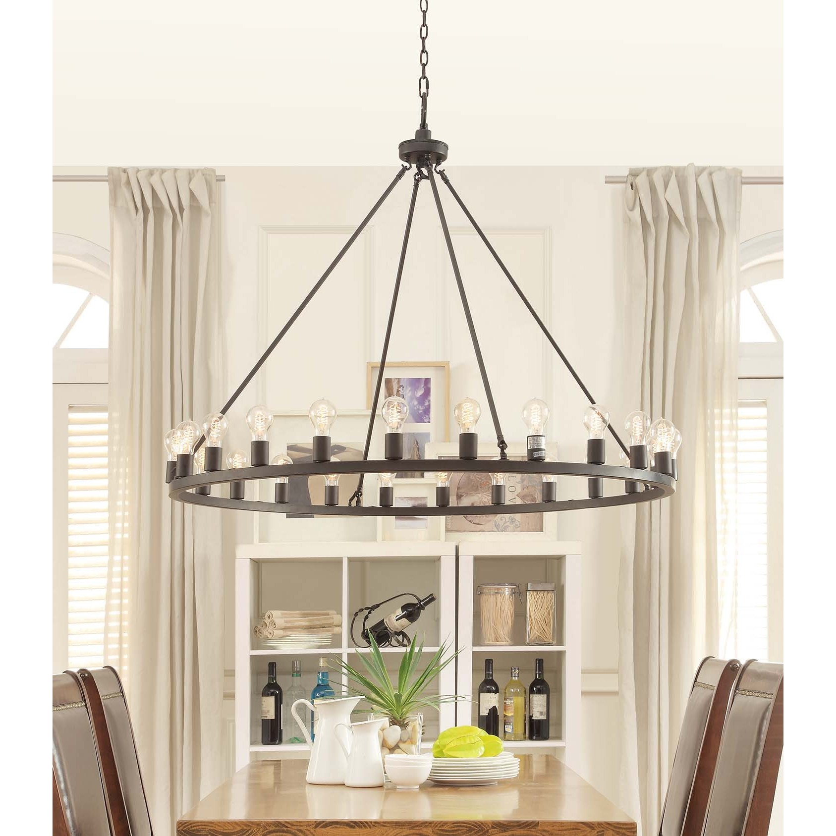 Chandelier With Edison Bulbs: Round Bronze Chandelier Large 48 Inch Wide 24 Light Edison