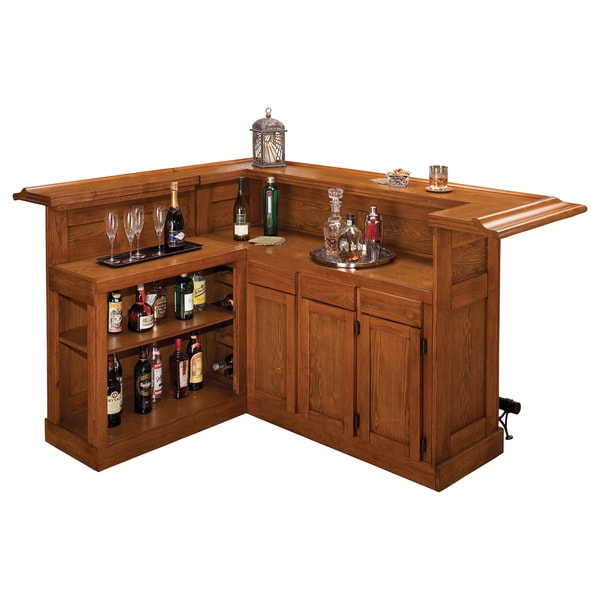 Overstock Bar: Classic Large Oak Bar With Side Bar