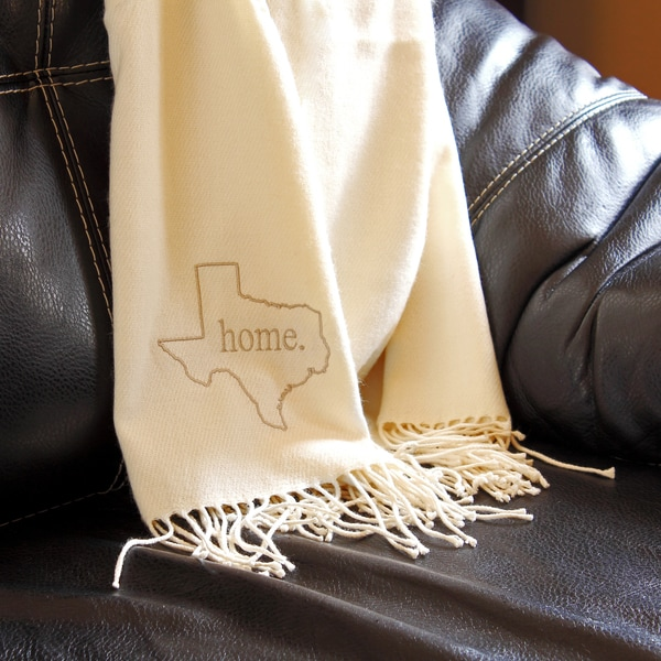 Personalized Embroidered Home State Throw Blanket Cream