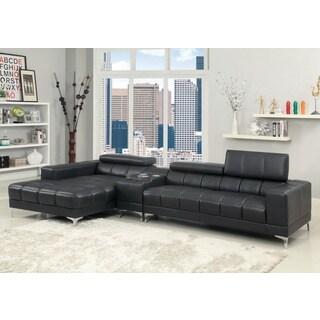 Furniture Of America Bourlette Black Bonded Leather 2