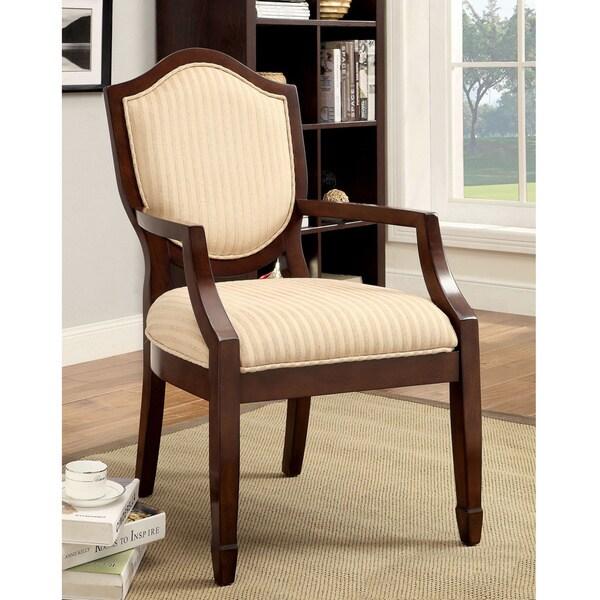 Furniture Of America Alfie Walnut Beige Stripe Fabric