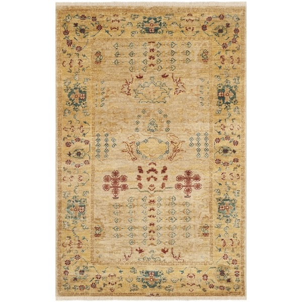 Vegetable Dyed Hand Knotted Floral Oushak Ivory Persian: Safavieh Hand-knotted Peshawar Vegetable Dye Ivory/ Gold