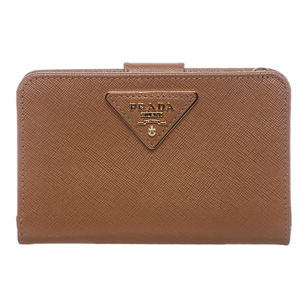 5021c92f0cdc Prada Caramel Saffiano Leather Bi fold Tab Wallet on PopScreen