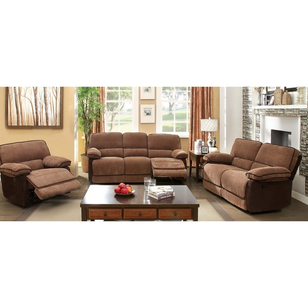 Furniture of america dark brown 3 piece chenille fabric - Fabric reclining living room sets ...