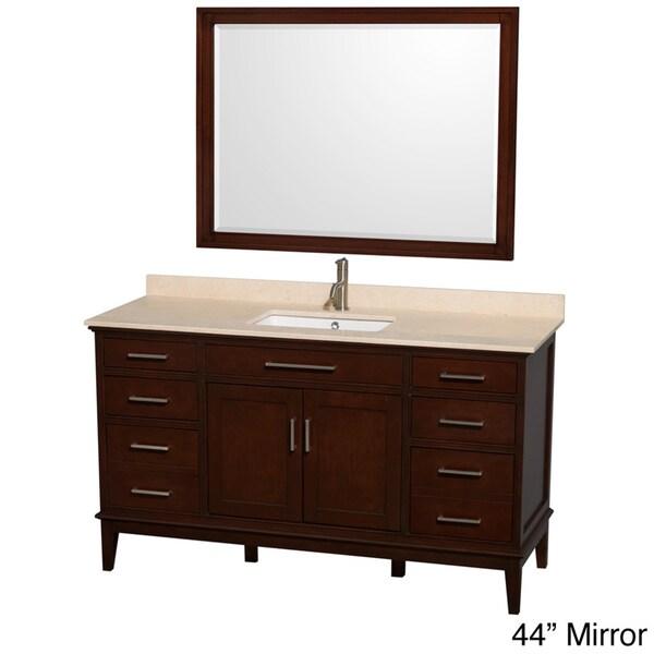Wyndham collection hatton dark chestnut 60 inch single - 60 inch bathroom cabinet single sink ...