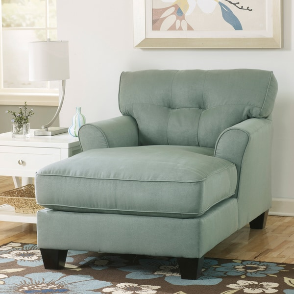 Signature Design By Ashley Kylee Lagoon Blue Fabric Chaise