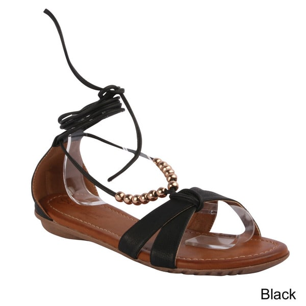 ca0842431c5a Strap Sandals  Beaded Ankle Strap Flat Sandals