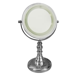 Free Standing 3 X Chrome Magnifying Lighted Makeup Mirror