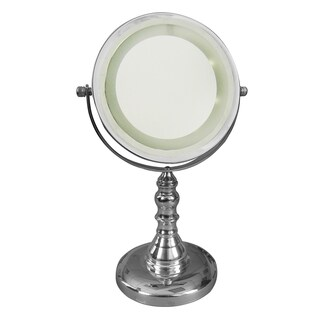 Free Standing 5x Chrome Magnifying Lighted Makeup Mirror