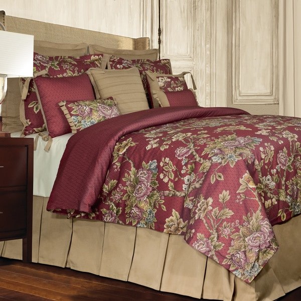 Rose Tree Preston 4 Piece Traditional Red Floral Comforter