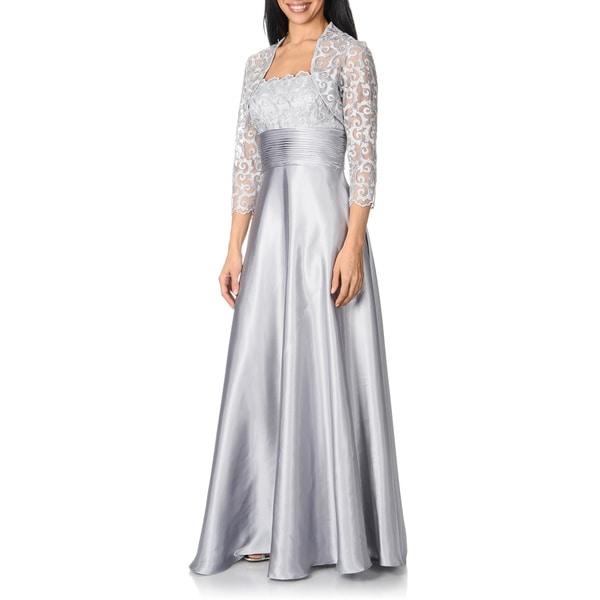 Cachet Women's Silver Lace 2-piece Gown