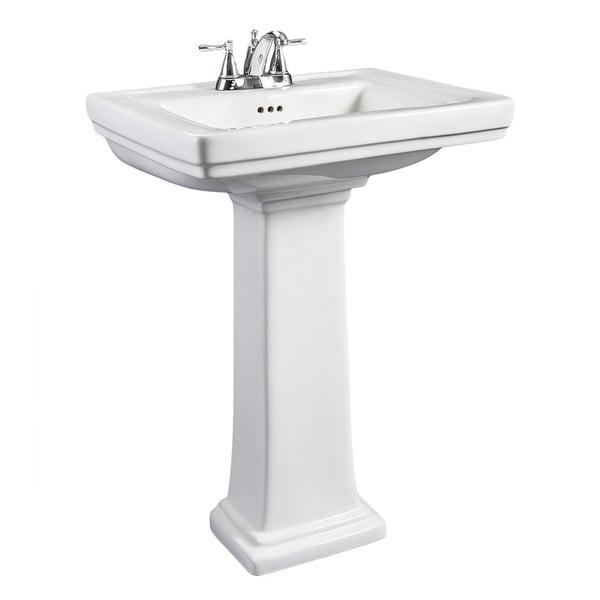 Hathaway Small White Porcelain Pedestal Sink 16123731