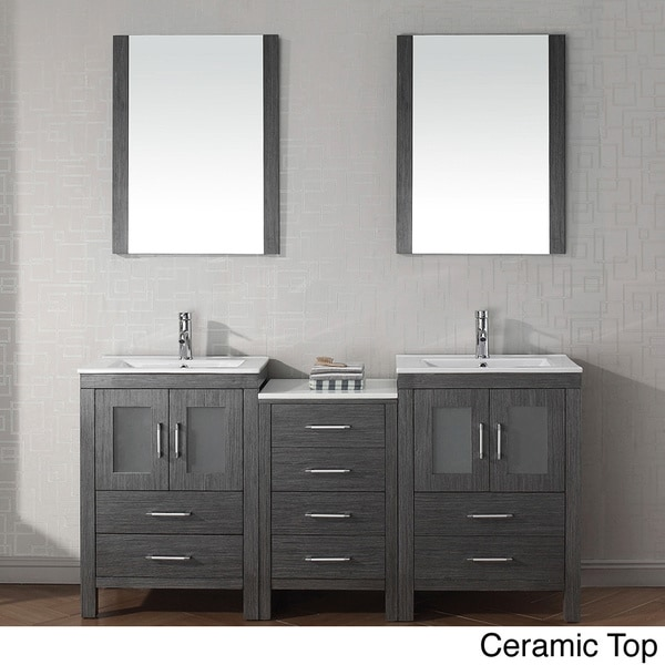 Virtu Usa Dior 74 Inch Double Sink Vanity Set In Zebra