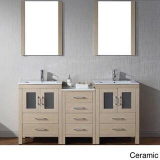 Virtu usa dior 66 inch double sink vanity set in light oak - 66 inch bathroom vanity double sink ...