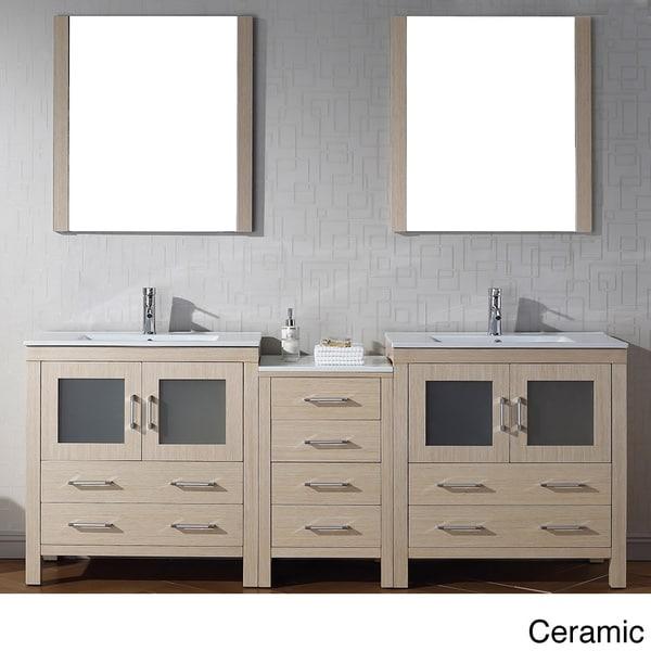 Virtu Usa Dior 82 Inch Double Sink Vanity Set In Light Oak
