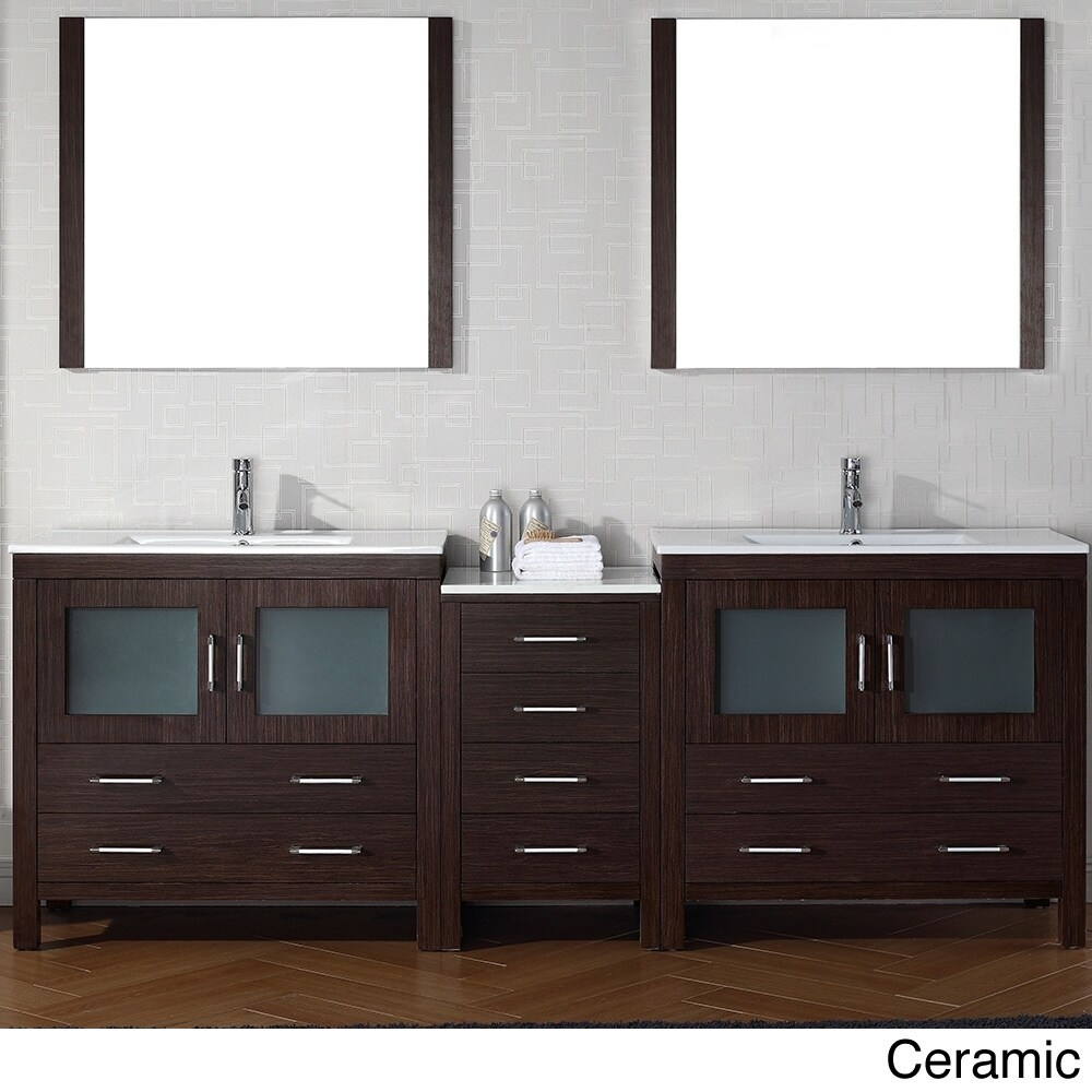 90 Inch Double Sink Bathroom Vanity: Virtu USA Dior 90 Inch Double Sink Vanity Set In Espresso