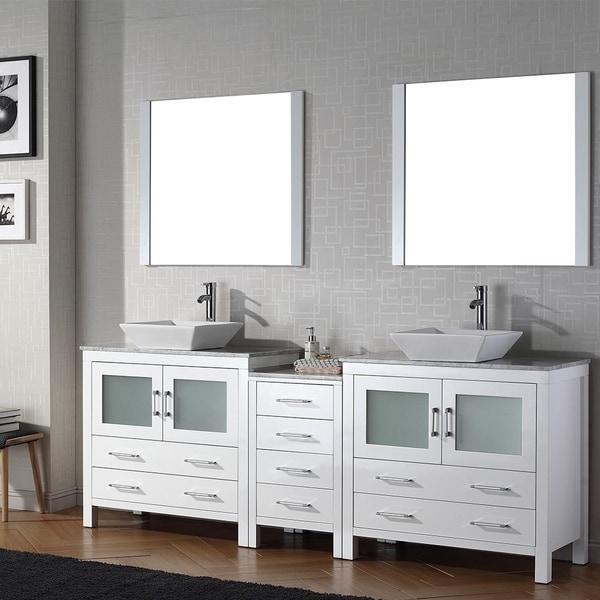 90 Inch Double Sink Bathroom Vanity: Virtu USA Dior 90 Inch Double Sink Vanity Set In White