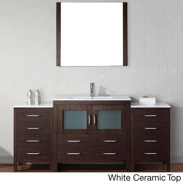 Virtu USA Dior 72 inch Single Sink Vanity Set in Espresso