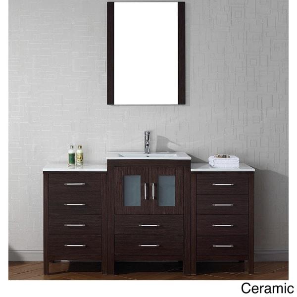 Virtu usa dior 60 inch single sink vanity set in espresso - 60 inch bathroom cabinet single sink ...