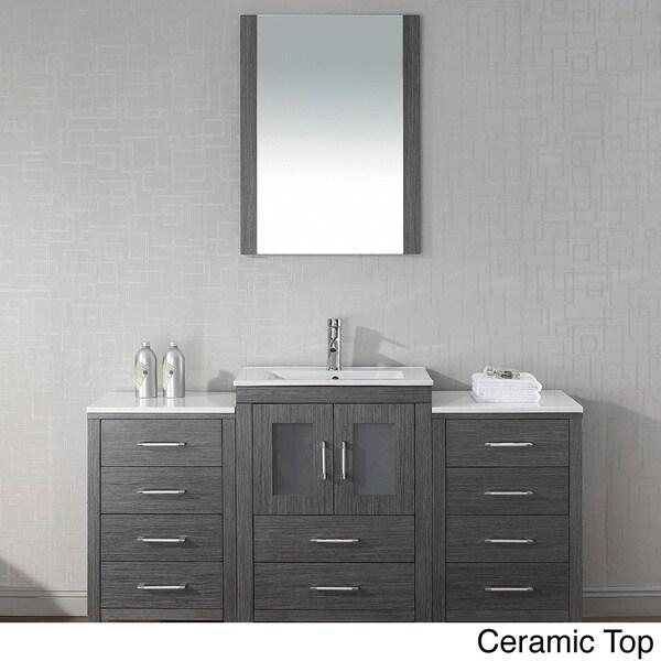 Virtu usa dior 60 inch single sink vanity set in zebra - 60 inch bathroom cabinet single sink ...