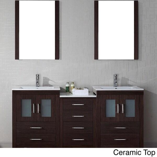 Virtu usa dior 66 inch double sink vanity set in espresso - 66 inch bathroom vanity double sink ...
