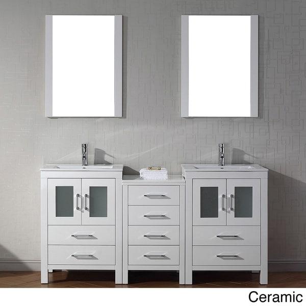 Virtu usa dior 66 inch double sink vanity set in white - 66 inch bathroom vanity double sink ...