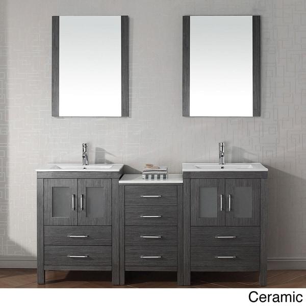 Virtu usa dior 66 inch double sink vanity set in zebra - 54 inch double sink bathroom vanity ...