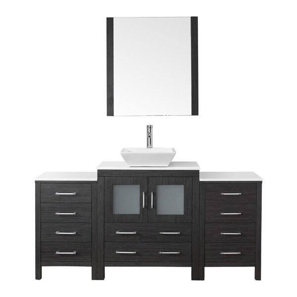 65 Inch Bathroom Vanity Single Sink: Virtu USA Dior 66 Inch Single Sink Vanity Set In Zebra