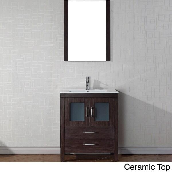 28 Inch Bathroom Vanity With Sink: Virtu USA Dior 28 Inch Single Sink Vanity Set In Espresso