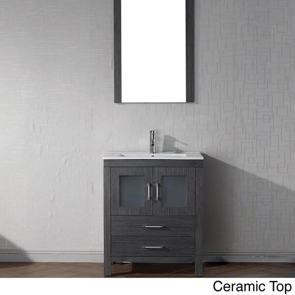 28 Inch Bathroom Vanity With Sink: Virtu USA Dior 28 Inch Single Sink Vanity Set In Zebra