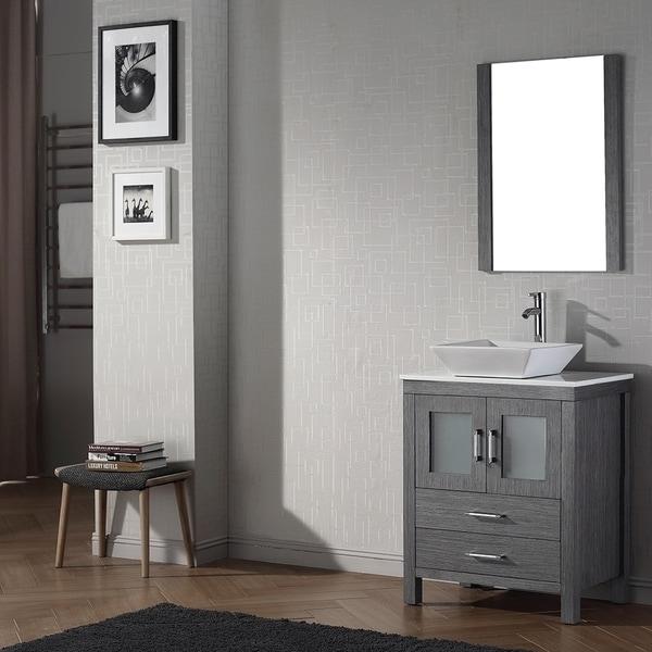 Virtu USA Dior 28 inch Single Sink Vanity Set in Zebra ...