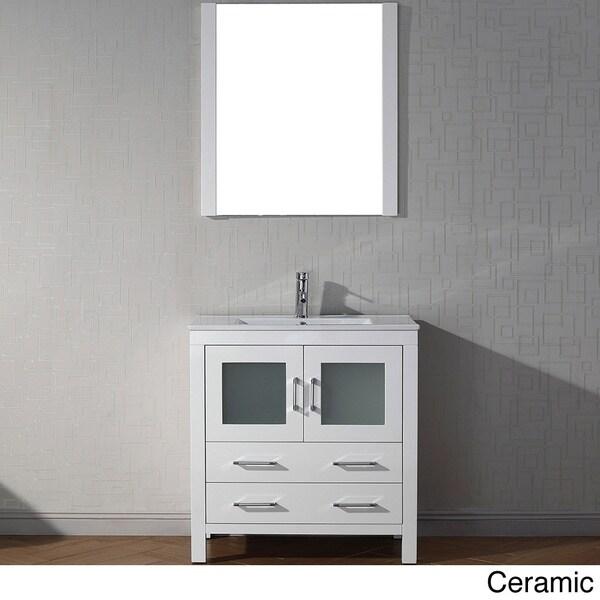 Virtu usa dior 30 inch single sink vanity set in white - 30 inch white bathroom vanity with sink ...