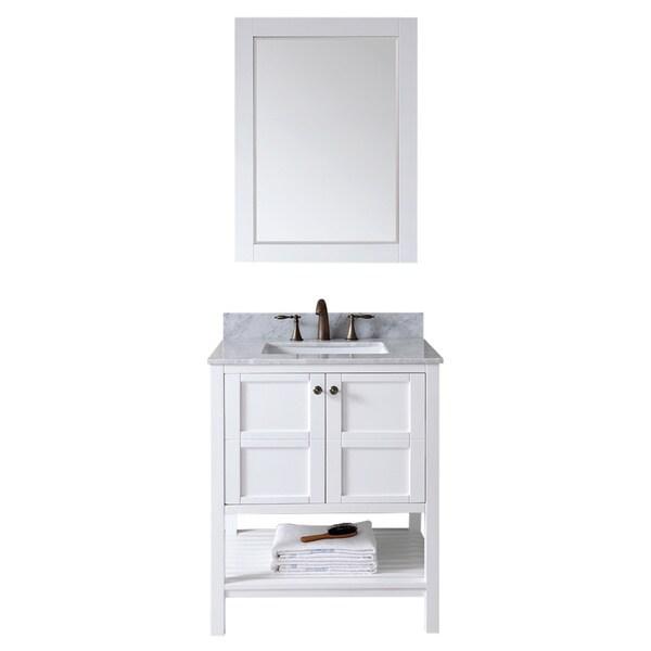 Virtu usa winterfell 30 inch single sink white vanity with - 30 inch single sink bathroom vanity ...
