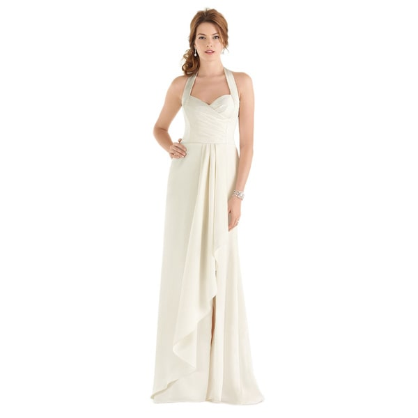 Dessy After Six Bridal Style Women's Draped Bodice Halter