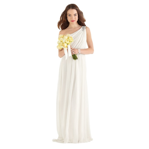 Dessy After Six Bridal Women's One-shoulder Crinkle