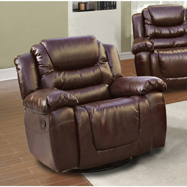 Mesa Brown Bonded Leather Rocking Swivel Recliner