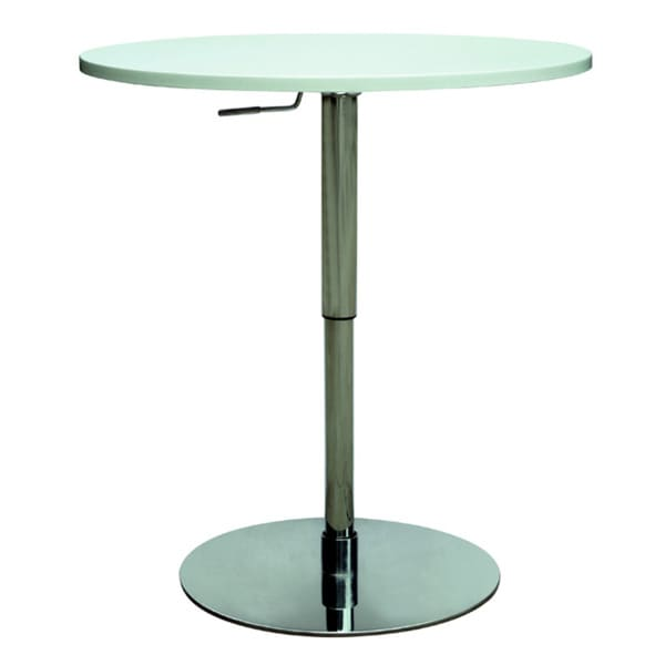 Overstock Bar Table: Chrome/White Pneumatic Gas Lift Adjustable Height Pub