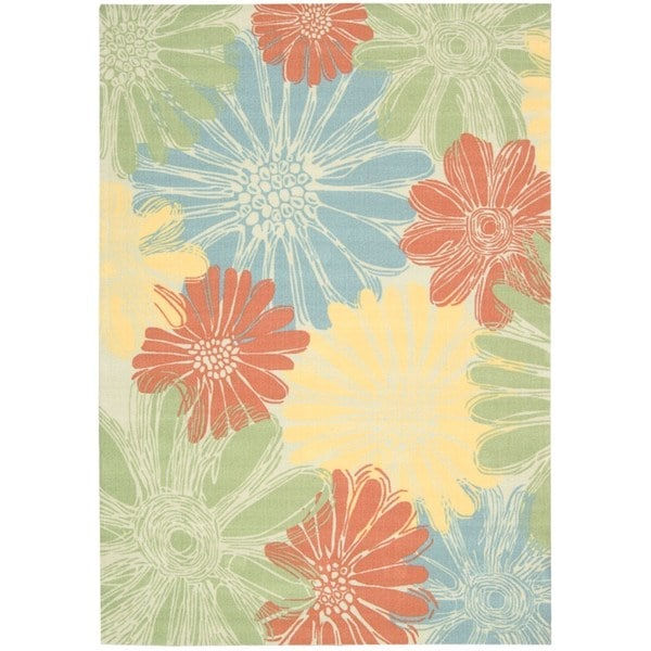 Bright Outdoor Area Rugs: Nourison Ivory/Multicolored Floral Indoor/Outdoor Area Rug