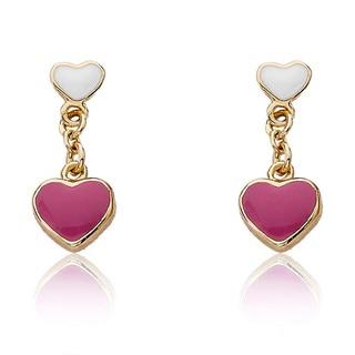 Little Miss Twin Stars Little Miss Flower Girl 14k Gold-Plated Hot Pink Stone /& CZ Flower Lariat Dangle Earring