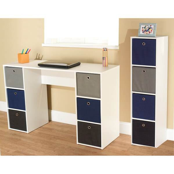 Simple Living Jolie Blue Theme 6 Bin Writing Desk With 4