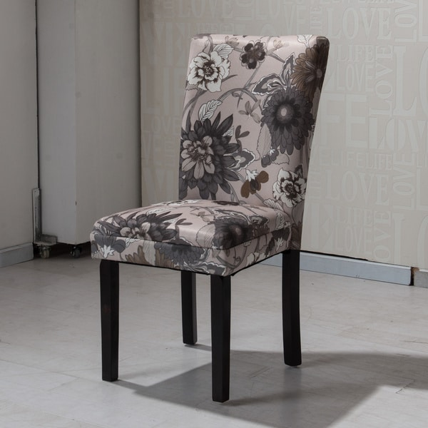 Hlw Arbonni Cream Grey Floral Modern Parson Chairs Set Of